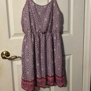 Purple printed sun dress